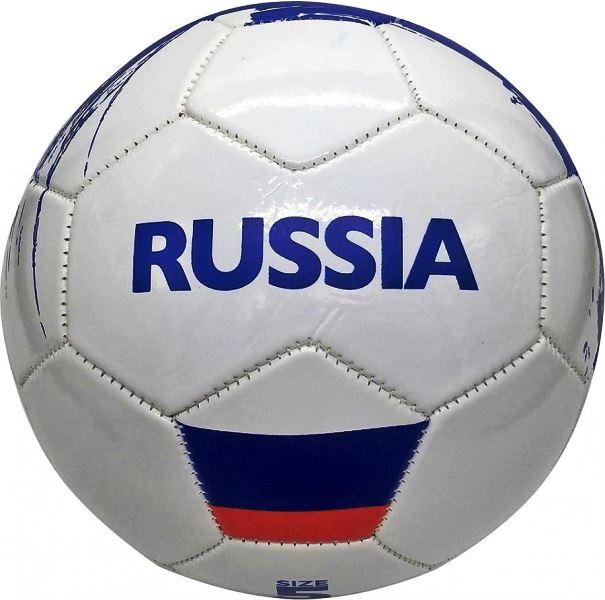 Мяч футбольный Россия, ПВХ 1 слой, 5 р., камера рез., маш.обр. в пак. в кор.50шт