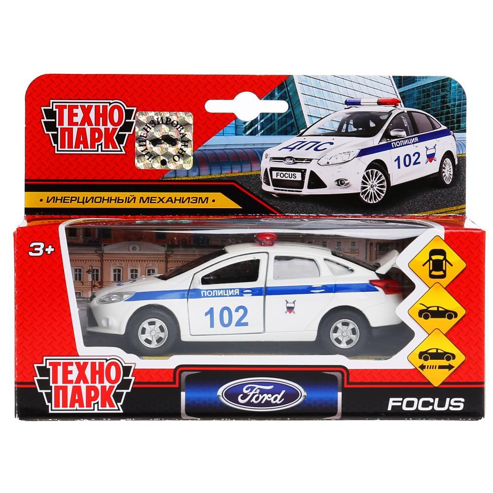 Машина металл FORD Focus полиция 12см, инерц., открыв.двери и багажник в кор. Технопарк в кор.2*24шт