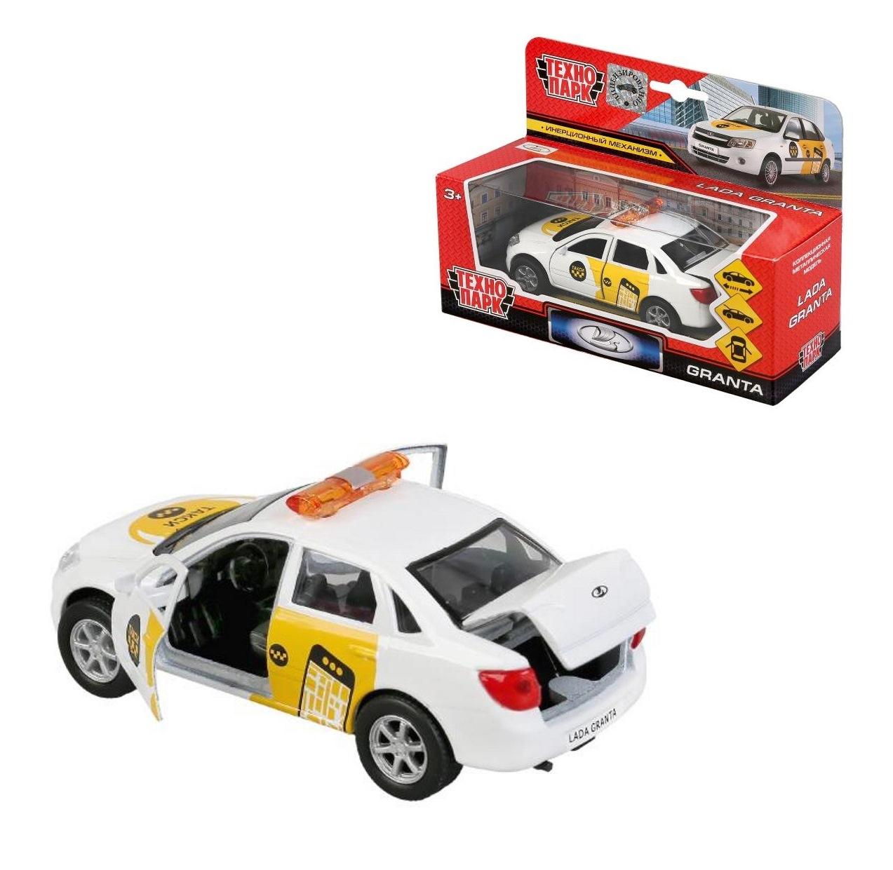 Машина металл LADA Granta такси 12см, инерц., открыв. двери и багажник в кор. Технопарк в кор.2*24шт