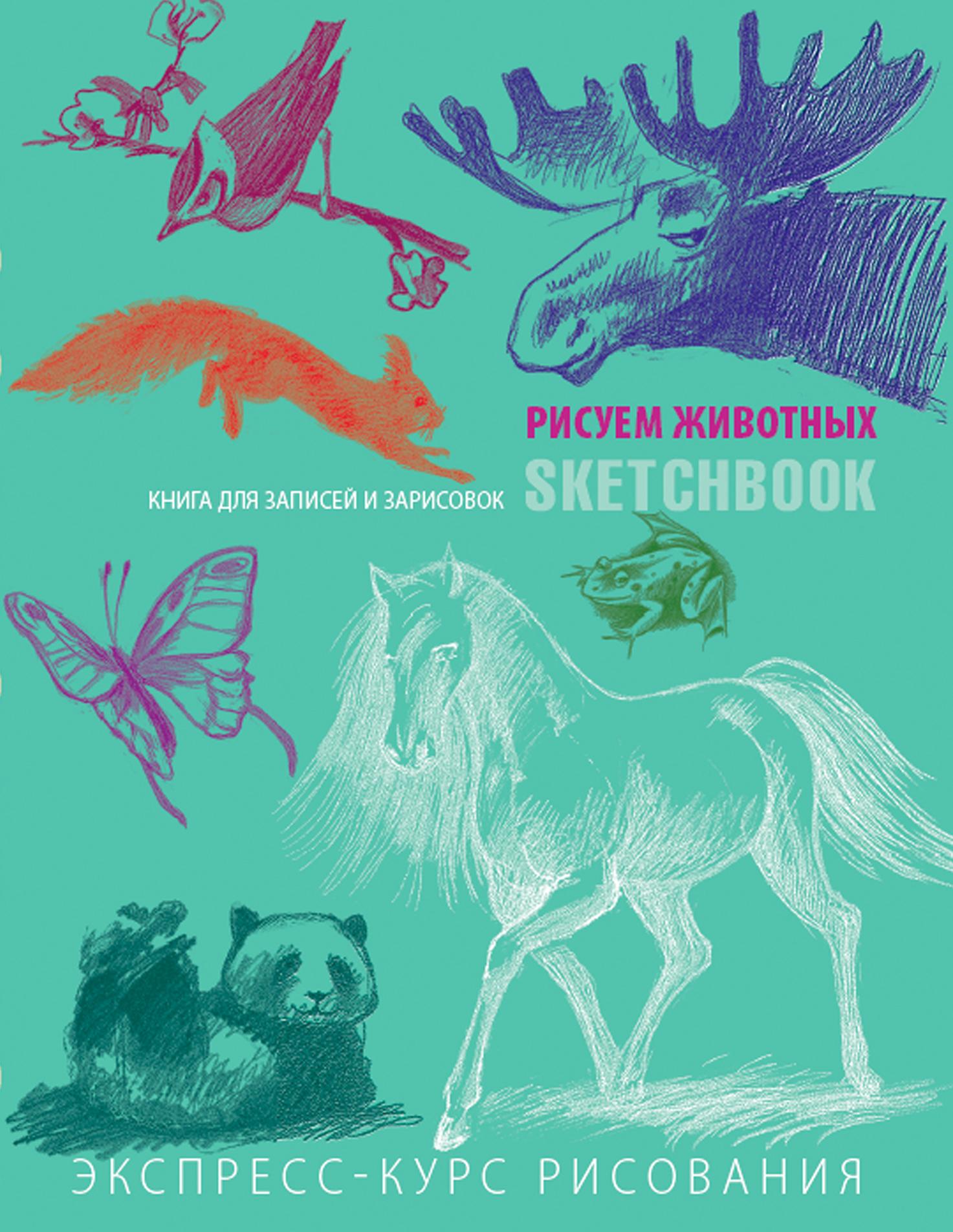 Sketchbook с уроками внутри. Рисуем животных (мята)